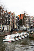 Holland, Amsterdam, boat on canal