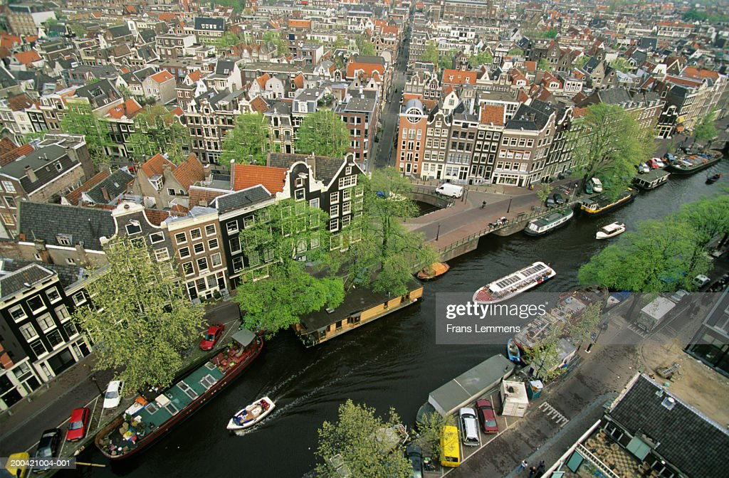 Holland, Amsterdam, Prince's Canal, elevated view