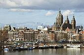 Holland, Amsterdam, St Nicholas church and skyline