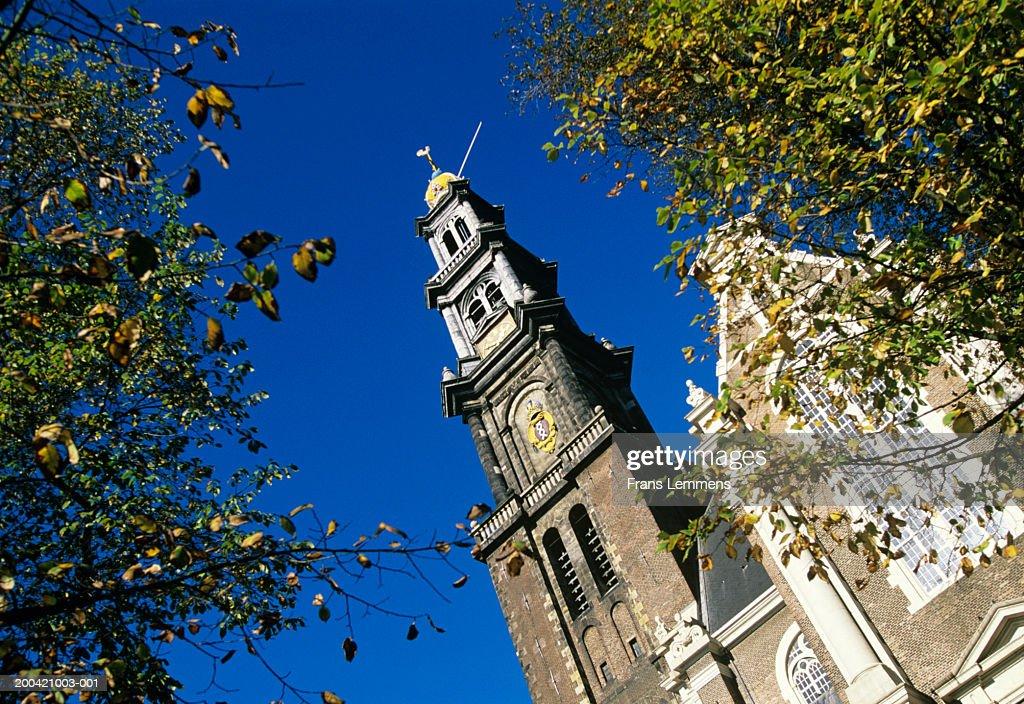 Holland, Amsterdam, Westerkerk, church clock tower, low angle view
