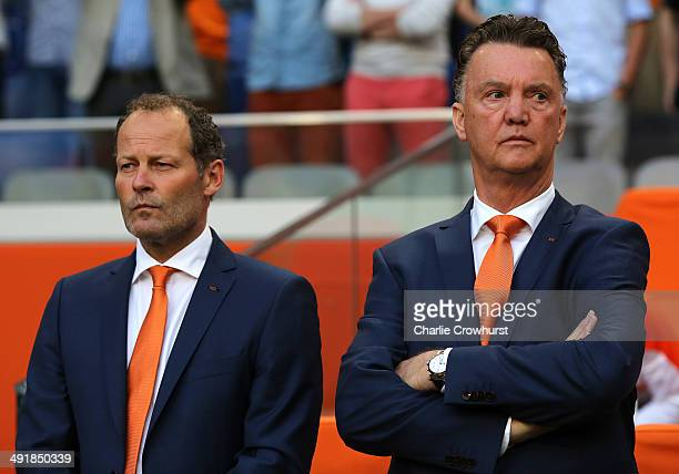 Holland manager Louis van Gaal with assitant manager Danny Blind during the International Friendly match between The Netherlands and Ecuador at The...