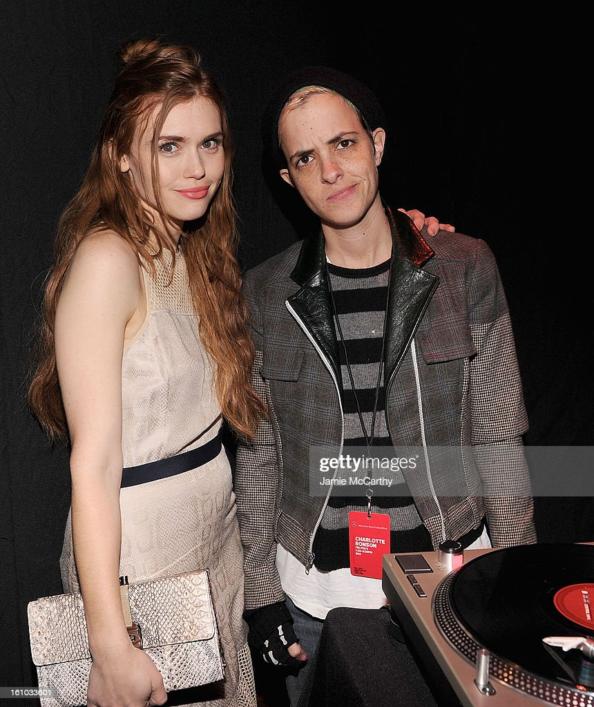<a gi-track='captionPersonalityLinkClicked' href=/galleries/search?phrase=Holland+Roden&family=editorial&specificpeople=5578822 ng-click='$event.stopPropagation()'>Holland Roden</a> and <a gi-track='captionPersonalityLinkClicked' href=/galleries/search?phrase=Samantha+Ronson&family=editorial&specificpeople=214678 ng-click='$event.stopPropagation()'>Samantha Ronson</a> attend the Charlotte Ronson Fall 2013 Mercedes-Benz Fashion Week Presentation at the Box at Lincoln Center on February 8, 2013 in New York City.