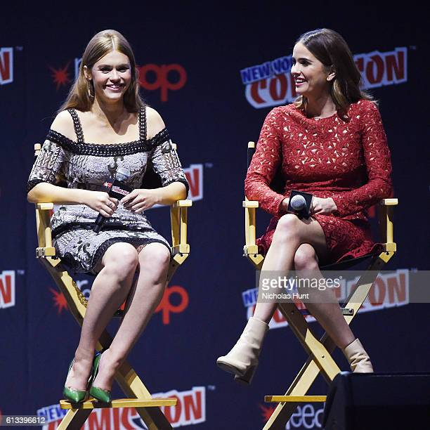 Holland Roden and Shelley Hennig attend the 'Teen Wolf' Final Farewell during day 3 of 2016 New York Comic Con at Hammerstein Ballroom on October 8...