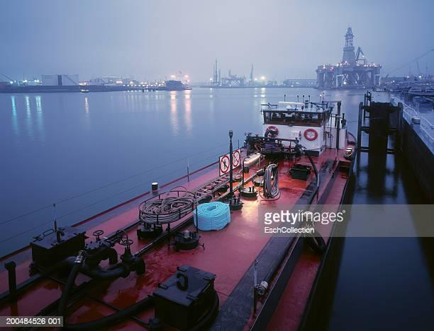 Holland, Rotterdam, petrochemical harbour at dawn (long exposure)