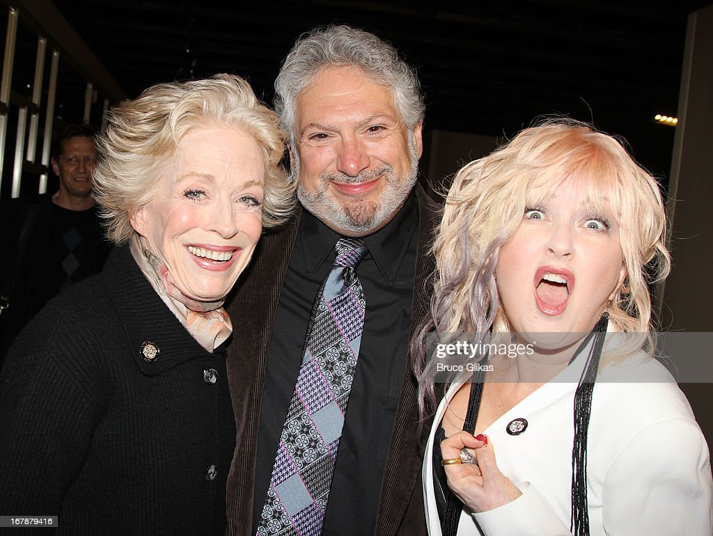 Holland Taylor, Harvey Fierstein and Cyndi Lauper attend the 2013 Tony Awards: The Meet The Nominees Press Junket at the Millenium Hilton on May 1, 2013 in New York City.