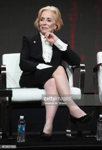 Holland Taylor of 'Mr Mercedes' speaks onstage during the ATT Audience Network portion of the 2017 Summer Television Critics Association Press Tour...
