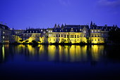 Holland, The Hague, Binnenhof illuminated at night