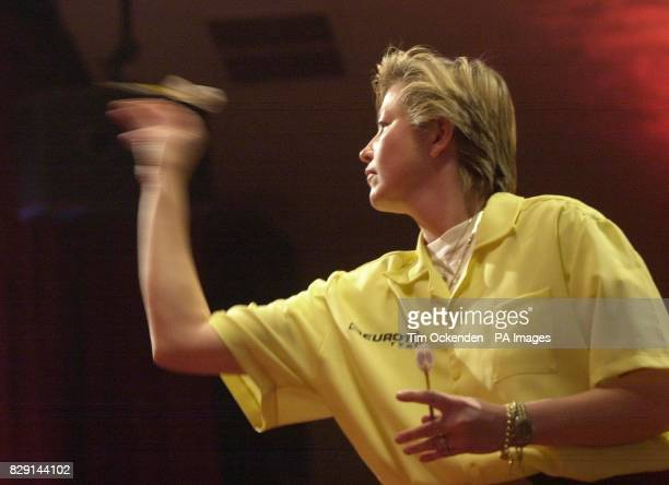 Holland's Francis Hoenselaar playing against Trina Gulliver during the Final of the Embassy Womens World Darts Championships at the Lakeside Country...