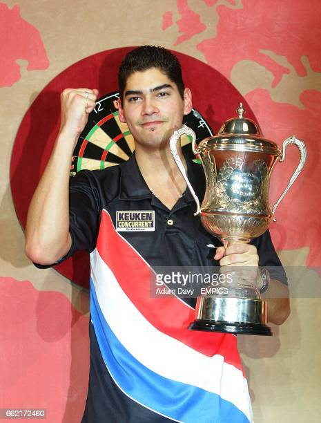 Holland's Jelle Klaasen holding the World Professional Darts Championship Trophy