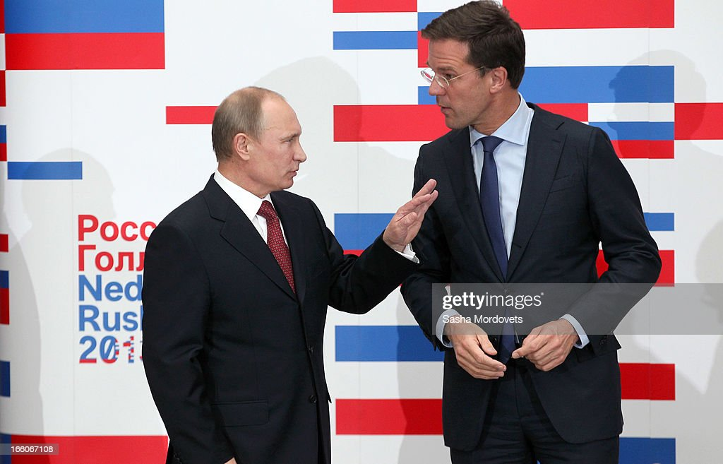 Holland's Prime Minister <a gi-track='captionPersonalityLinkClicked' href=/galleries/search?phrase=Mark+Rutte&family=editorial&specificpeople=4509362 ng-click='$event.stopPropagation()'>Mark Rutte</a> (R) meets with Russian President <a gi-track='captionPersonalityLinkClicked' href=/galleries/search?phrase=Vladimir+Putin&family=editorial&specificpeople=154896 ng-click='$event.stopPropagation()'>Vladimir Putin</a> April 8, 2012 in Amsterdam, Netherlands. Putin began a one-day state visit to the Netherlands at the invitation of Queen Beatrix.
