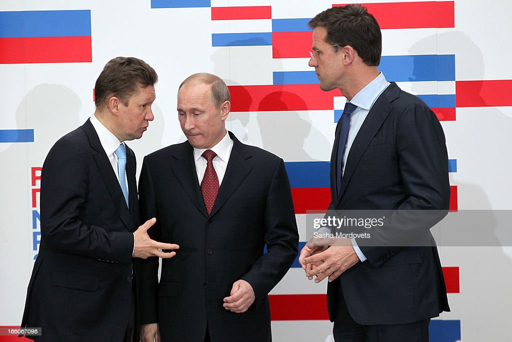 Holland's Prime Minister <a gi-track='captionPersonalityLinkClicked' href=/galleries/search?phrase=Mark+Rutte&family=editorial&specificpeople=4509362 ng-click='$event.stopPropagation()'>Mark Rutte</a> (R) meets with Russian President <a gi-track='captionPersonalityLinkClicked' href=/galleries/search?phrase=Vladimir+Putin&family=editorial&specificpeople=154896 ng-click='$event.stopPropagation()'>Vladimir Putin</a> and Gazprom's CEO <a gi-track='captionPersonalityLinkClicked' href=/galleries/search?phrase=Alexei+Miller&family=editorial&specificpeople=713081 ng-click='$event.stopPropagation()'>Alexei Miller</a> (L) April 8, 2012 in Amsterdam, Netherlands. Putin began a one-day state visit to the Netherlands at the invitation of Queen Beatrix.