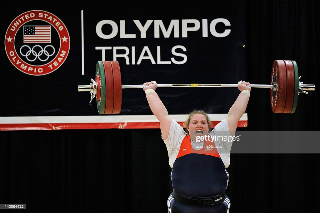 Holley Mangold successfully completes a 145 kilogram clean and jerk on her first attempt during the 2012 U.S. Olympic Team Trials for Women's Weightlifting on March 4, 2012 in Columbus, Ohio.