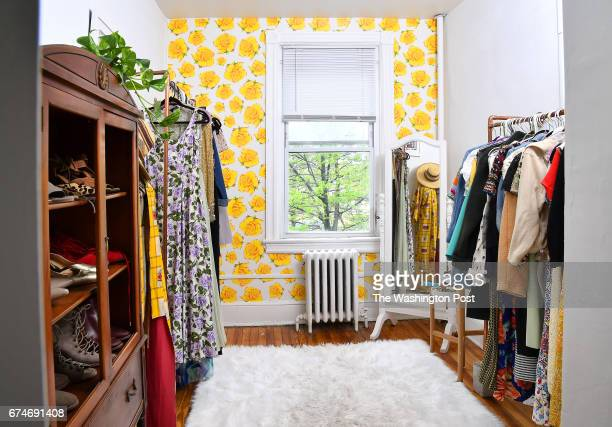 Holley Simmons has one room she uses as a dressing room April 17 2017 in Washington DC She has bold wall paper as an accent wall and made the racks...