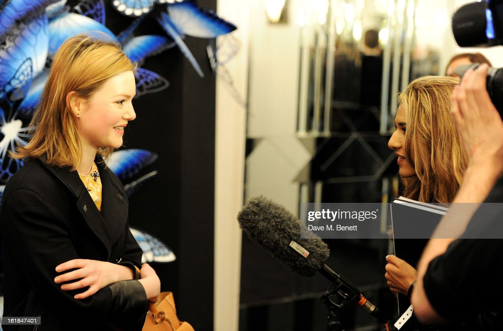 <a gi-track='captionPersonalityLinkClicked' href=/galleries/search?phrase=Holliday+Grainger&family=editorial&specificpeople=5776491 ng-click='$event.stopPropagation()'>Holliday Grainger</a> (L) attends the Mulberry Autumn Winter 2013 show during London Fashion Week at Claridge's Hotel on February 17, 2013 in London, England.
