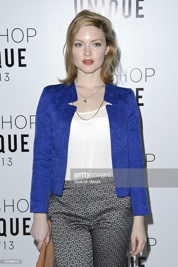 Holliday Grainger attends the Topshop Unique Autumn/ Winter 2013 catwalk show at the Topshop Show Space on February 17, 2013 in London, England.