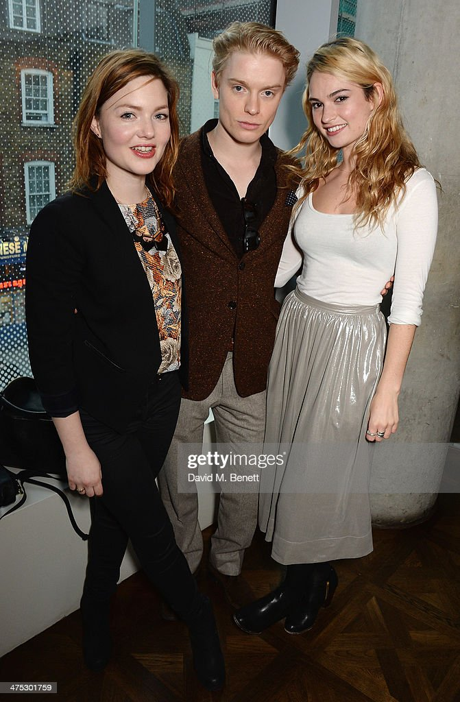 Holliday Grainger, Freddie Fox and Lily James attend a VIP screening of Harvey Weinstein's 'Escape From Planet Earth' at The W Hotel on February 27, 2014 in London, England.