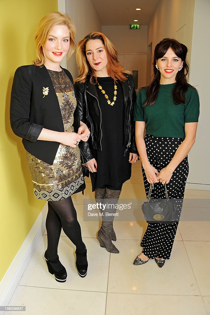 Holliday Grainger, guest and Ophelia Lovibond attend the English National Ballet Christmas Party at St Martins Lane Hotel on December 13, 2012 in London, England.