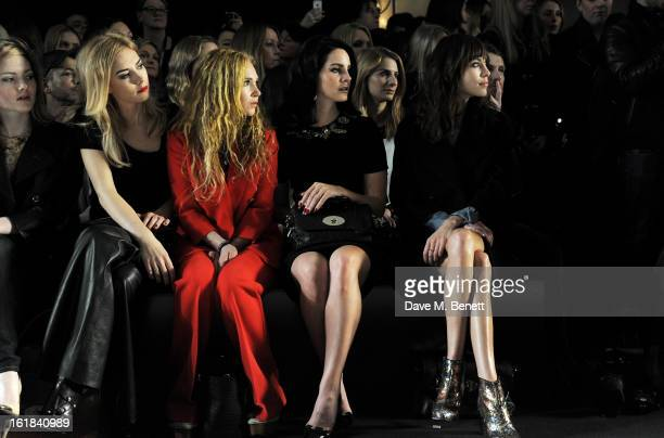 Holliday Grainger Vanessa Kirby Juno Temple Lana Del Rey and Alexa Chung attend the Mulberry Autumn Winter 2013 show during London Fashion Week at...