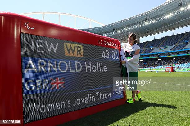 Hollie Arnold of Great Britain celebrates after break the world record in the Women's Javelin Throw during day 6 of the Rio 2016 Paralympic Games at...