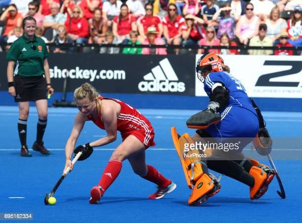 LR Hollie Webb of England beats Julia Remmerswaal of Netherlands during the Investec International match between England Women and Netherlands Women...