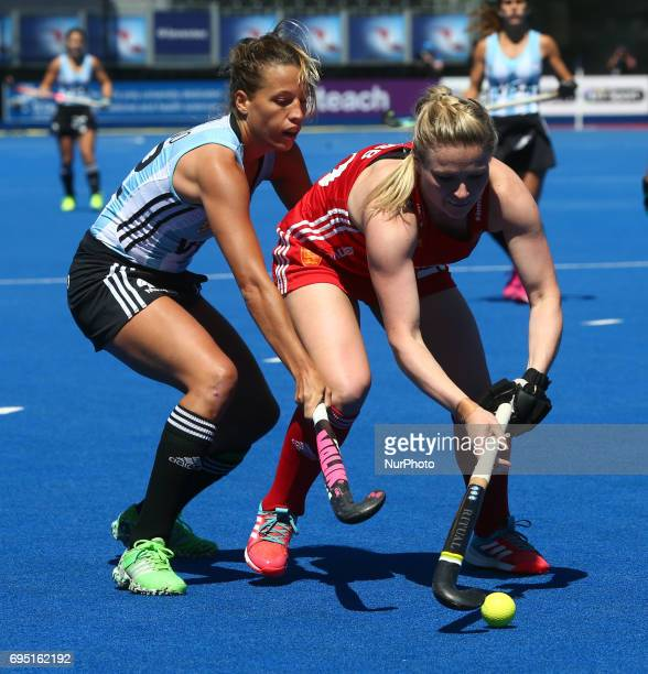 Hollie Webb of England during the Investec International match between England Women and Argentina Women at The Lee Valley Hockey and Tennis Centre...