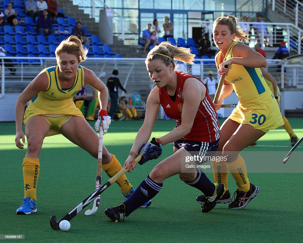 Hollie Webb of England in action during the Investec Women's International Hockey Challenge match between England and Australia from Hartleyvale Hockey Stadium on February 07, 2013 in Cape Town, South Africa.