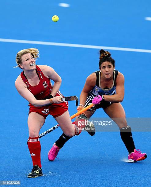 Hollie Webb of Great Britain and Maria Ganatto of Argentina during the FIH Women's Hockey Champions Trophy match between Argentina and Great Britain...