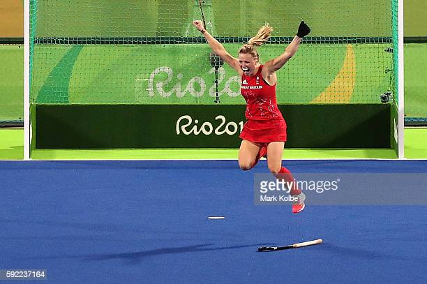 Hollie Webb of Great Britain celebrates after scoring the gamewinning penalty goal against the Netherlands during the Women's Gold Medal Match on Day...