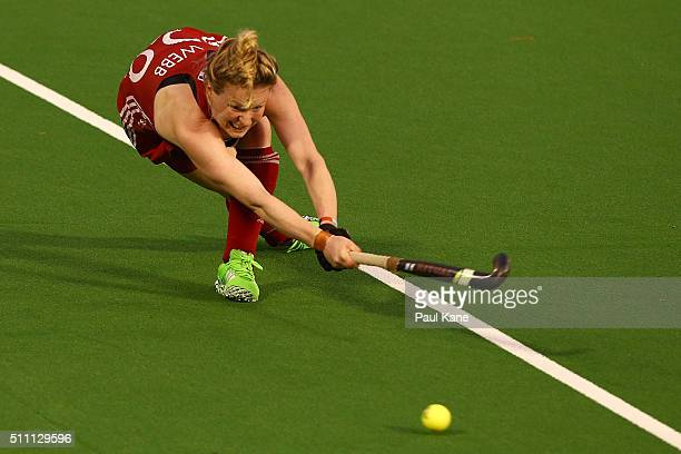 Hollie Webb of Great Britain passes the ball during the International Test match between the Australia Hockeyroos and Great Britain at Perth Hockey...