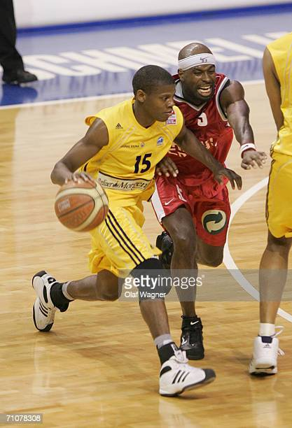 Hollis Price of Alba battle for the ball with Michael H Jordan of Koeln during game one of the Basketball Playoffs Final match between Alba Berlin...