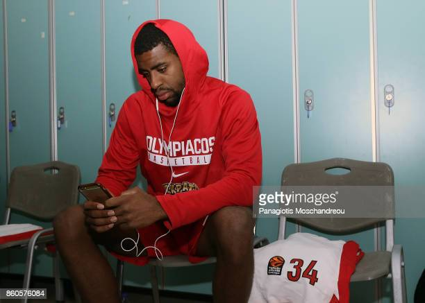 Hollis Thompson #34 of Olympiacos Piraeus concentrating at the locker rooms during the 2017/2018 Turkish Airlines EuroLeague Regular Season Round 1...