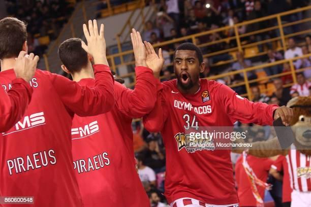 Hollis Thompson #34 of Olympiacos Piraeus react during the 2017/2018 Turkish Airlines EuroLeague Regular Season Round 1 game between Olympiacos...