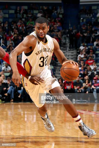 Hollis Thompson of the New Orleans Pelicans handles the ball during the game against the Detroit Pistons on March 1 2017 at the Smoothie King Center...