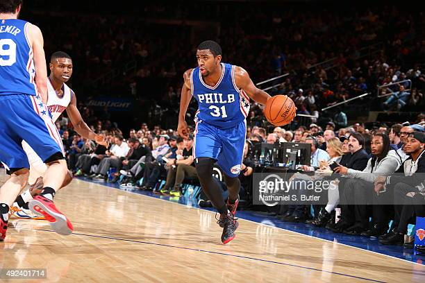 Hollis Thompson of the Philadelphia 76ers brings the ball up court against the New York Knicks on October 12 2015 at Madison Square Garden in New...