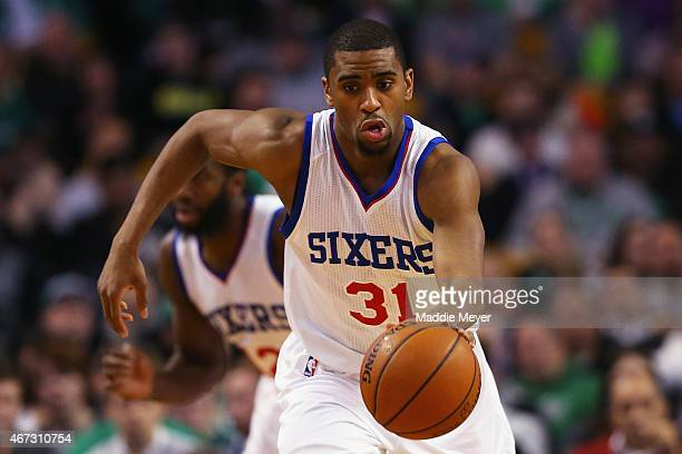 Hollis Thompson of the Philadelphia 76ers carries the ball against the Boston Celtics at TD Garden on March 16 2015 in Boston Massachusetts NOTE TO...