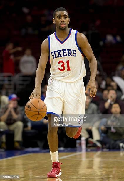 Hollis Thompson of the Philadelphia 76ers dribbles the ball against the Orlando Magic on November 5 2014 at the Wells Fargo Center in Philadelphia...