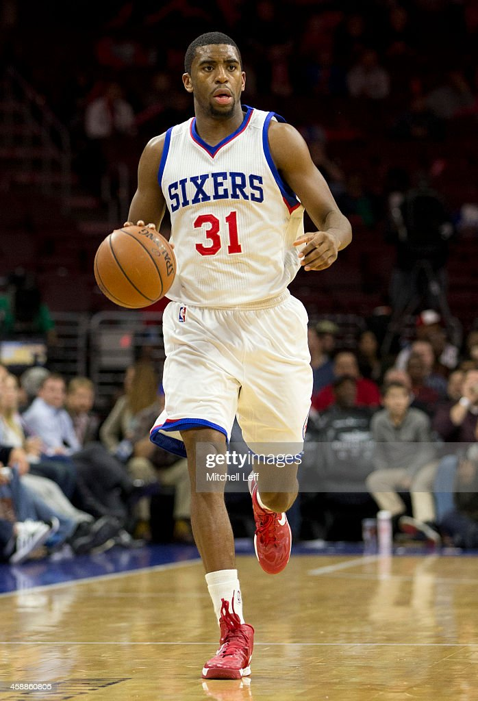 <a gi-track='captionPersonalityLinkClicked' href=/galleries/search?phrase=Hollis+Thompson&family=editorial&specificpeople=6586021 ng-click='$event.stopPropagation()'>Hollis Thompson</a> #31 of the Philadelphia 76ers dribbles the ball against the Orlando Magic on November 5, 2014 at the Wells Fargo Center in Philadelphia, Pennsylvania.