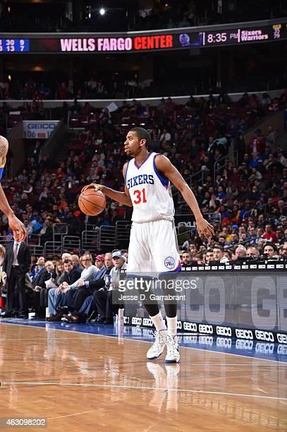 Hollis Thompson of the Philadelphia 76ers dribbles the ball against the Golden State Warriors at Wells Fargo Center on February 9 2015 in...