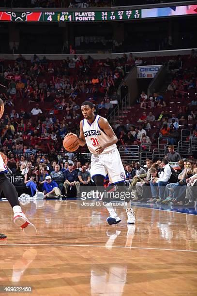 Hollis Thompson of the Philadelphia 76ers dribbles up court against the Milwaukee Bucks at Wells Fargo Center on April 13 2015 in Philadelphia...