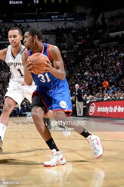 Hollis Thompson of the Philadelphia 76ers drives against the San Antonio Spurs at the ATT Center on November 17 2014 in San Antonio Texas NOTE TO...