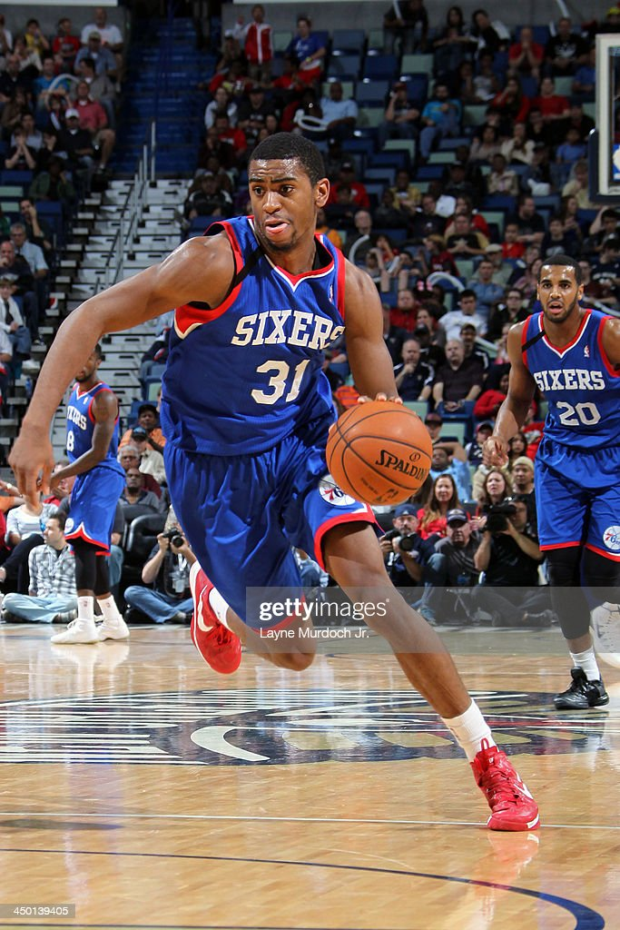 <a gi-track='captionPersonalityLinkClicked' href=/galleries/search?phrase=Hollis+Thompson&family=editorial&specificpeople=6586021 ng-click='$event.stopPropagation()'>Hollis Thompson</a> #31 of the Philadelphia 76ers drives to the basket against the New Orleans Pelicans on November 16, 2013 at the New Orleans Arena in New Orleans, Louisiana.
