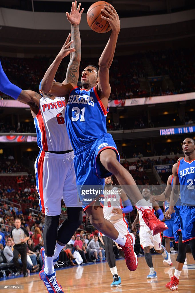 <a gi-track='captionPersonalityLinkClicked' href=/galleries/search?phrase=Hollis+Thompson&family=editorial&specificpeople=6586021 ng-click='$event.stopPropagation()'>Hollis Thompson</a> #31 of the Philadelphia 76ers drives to the basket against the Detroit Pistons at the Wells Fargo Center on March 29, 2014 in Philadelphia, Pennsylvania.