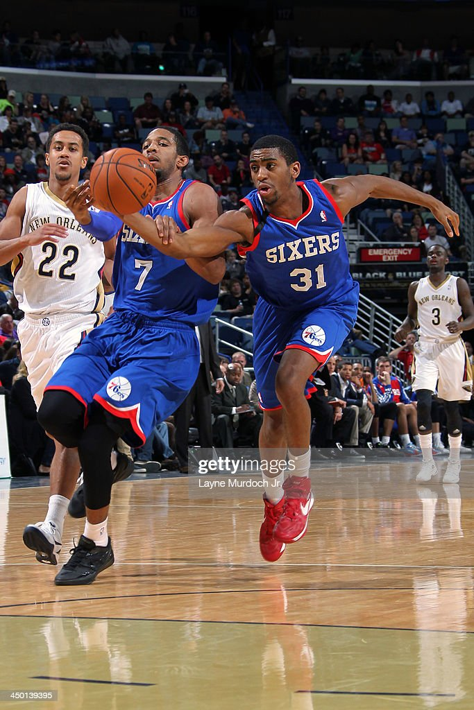 <a gi-track='captionPersonalityLinkClicked' href=/galleries/search?phrase=Hollis+Thompson&family=editorial&specificpeople=6586021 ng-click='$event.stopPropagation()'>Hollis Thompson</a> #31 of the Philadelphia 76ers fights for a loose ball against the New Orleans Pelicans on November 16, 2013 at the New Orleans Arena in New Orleans, Louisiana.