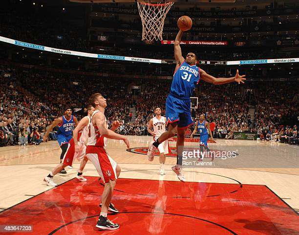 Hollis Thompson of the Philadelphia 76ers goes up for a dunk against the Toronto Raptors during the game on April 9 2014 at the Air Canada Centre in...