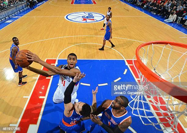 Hollis Thompson of the Philadelphia 76ers goes up for the layup against the New York Knicks at Wells Fargo Center on January 21 2015 in Philadelphia...