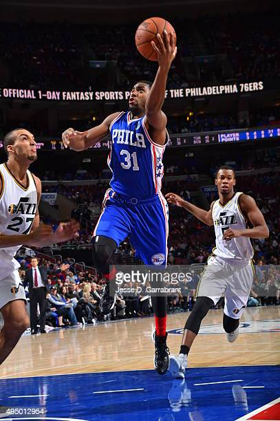 Hollis Thompson of the Philadelphia 76ers goes up for the layup against the Utah Jazz at Wells Fargo Center on October 30 2015 in Philadelphia...