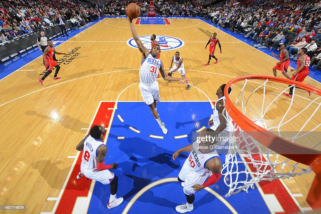 <a gi-track='captionPersonalityLinkClicked' href=/galleries/search?phrase=Hollis+Thompson&family=editorial&specificpeople=6586021 ng-click='$event.stopPropagation()'>Hollis Thompson</a> #31 of the Philadelphia 76ers grabs a rebound against the Atlanta Hawks at the Wells Fargo Center on January 31, 2014 in Philadelphia, Pennsylvania.