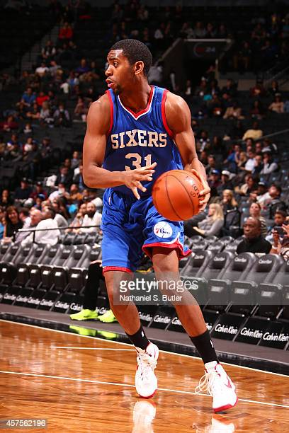 Hollis Thompson of the Philadelphia 76ers handles the ball against the Brooklyn Nets during the game on October 20 2014 at Barclays Center in...