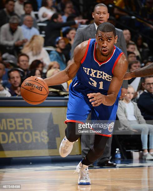 Hollis Thompson of the Philadelphia 76ers handles the ball against the Denver Nuggets on March 25 2015 at the Pepsi Center in Denver Colorado NOTE TO...