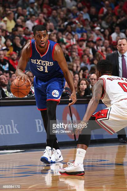 Hollis Thompson of the Philadelphia 76ers handles the ball against the Chicago Bulls on April 11 2015 at the United Center in Chicago Illinois NOTE...